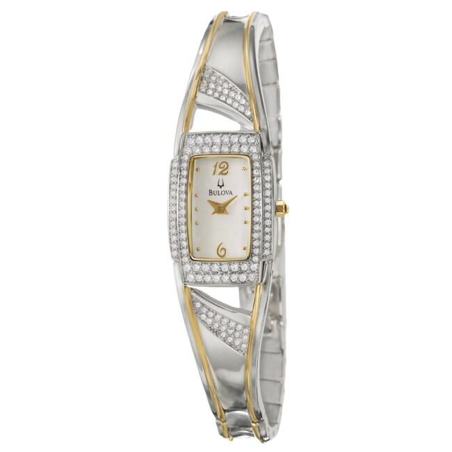 Bulova Women's 'Crystal' Two Tone Stainless Steel Quartz Watch