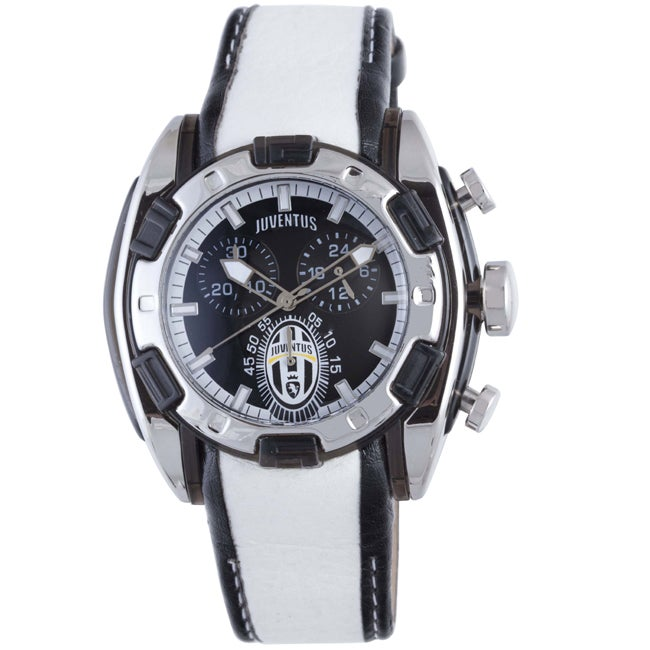 Juventus Men's Black Dial 24 Hour Display Chronograph Leather Quartz Watch