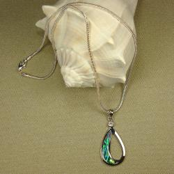 Open Oval Shaped Abalone Pendant Necklace