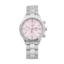 Seiko Women's SNDY37 Silver Stainless-Steel Quartz Watch with Pink Dial