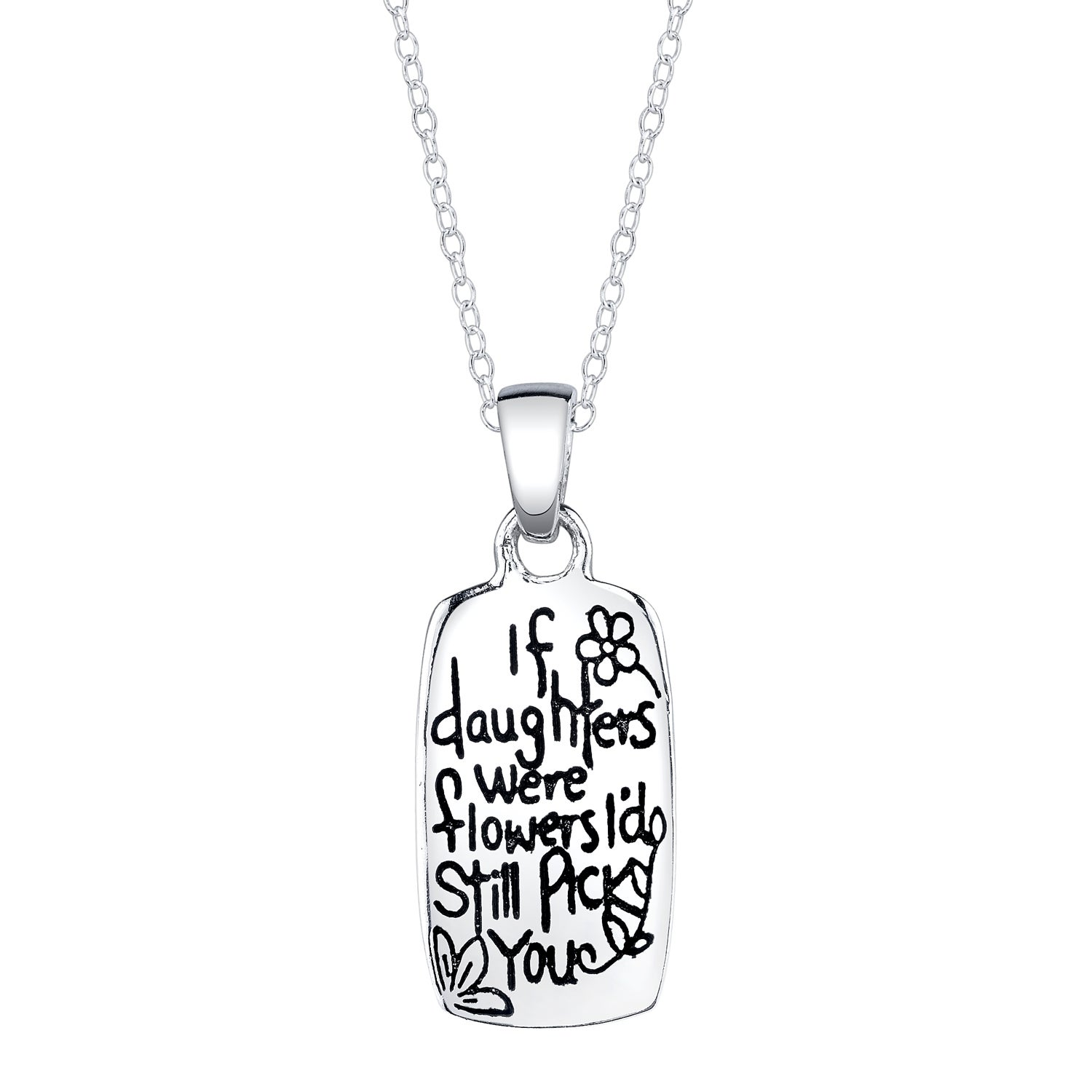 Sterling Silver 'If Daughters were Flowers I'd Still Pick You' Reversible Heart Necklace
