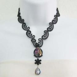 Enamored Lace Faceted Glass Petal Handmade Necklace (Thailand)
