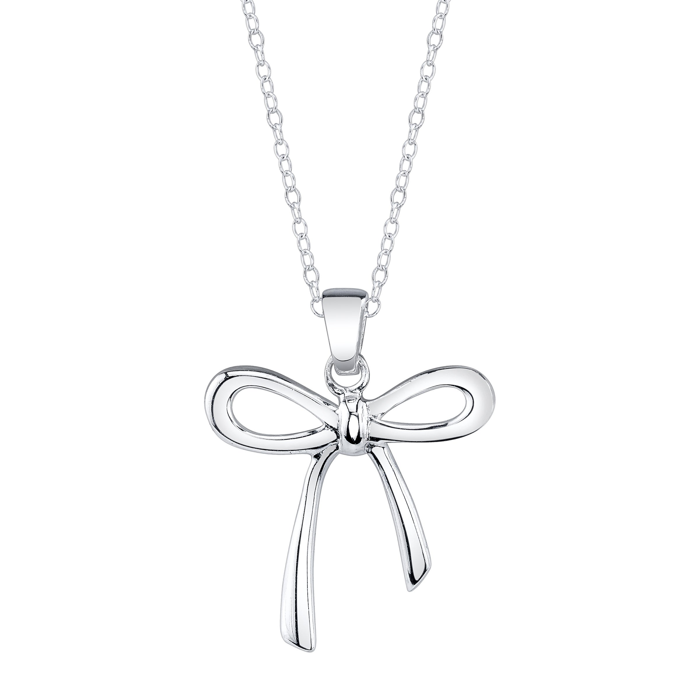 Sterling Silver Open Bow Necklace