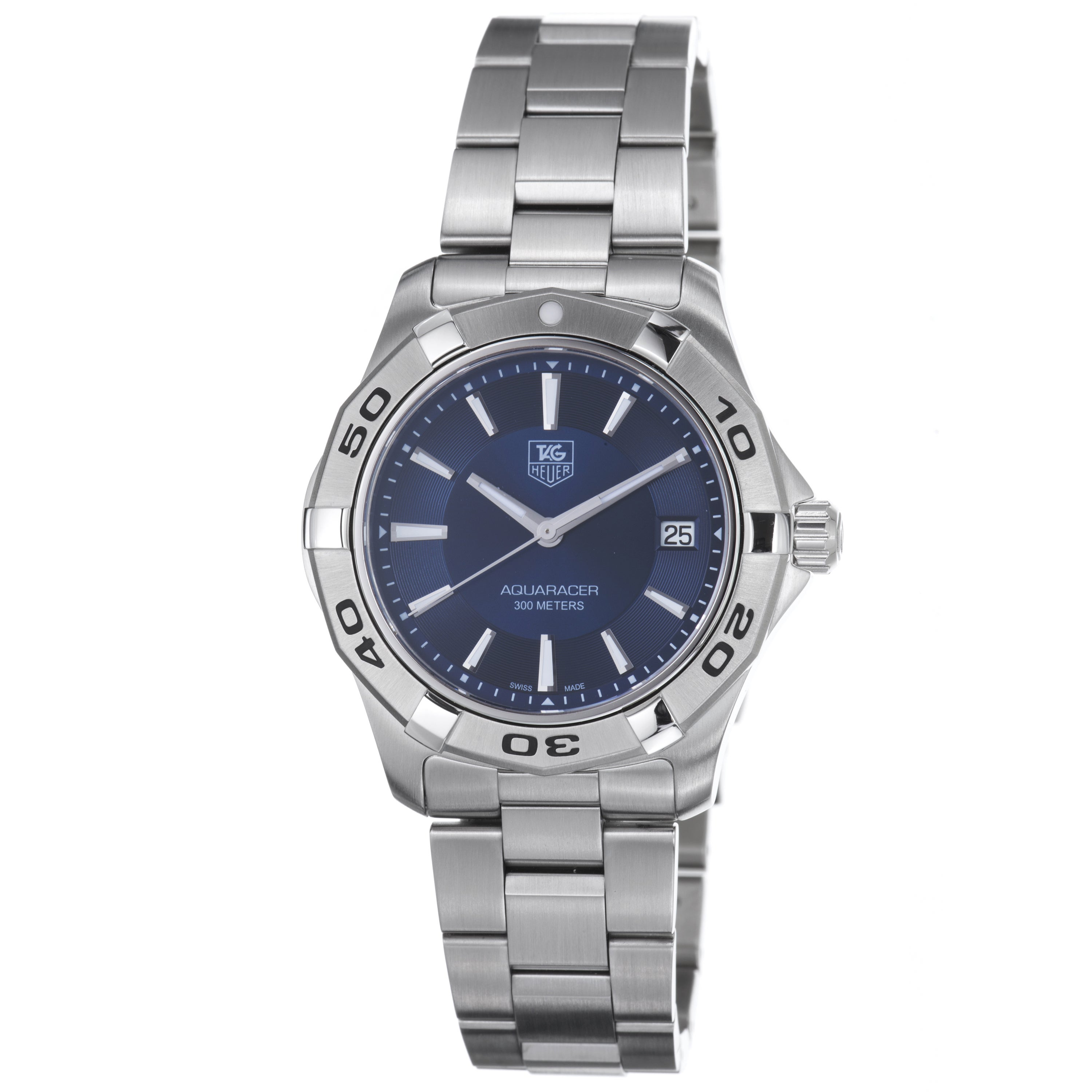 Tag heuer men 39 s wap1112 ba0831 39 2000 aquaracer 39 blue dial stainless steel watch 14355584 for Tag heuer discount