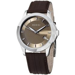 Gucci Men's 'Timeless' Brown Dial Brown Leather Strap Quartz Watch