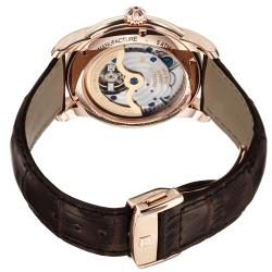 Frederique Constant Men's 'Maxime' Silver Dial Brown Strap Watch