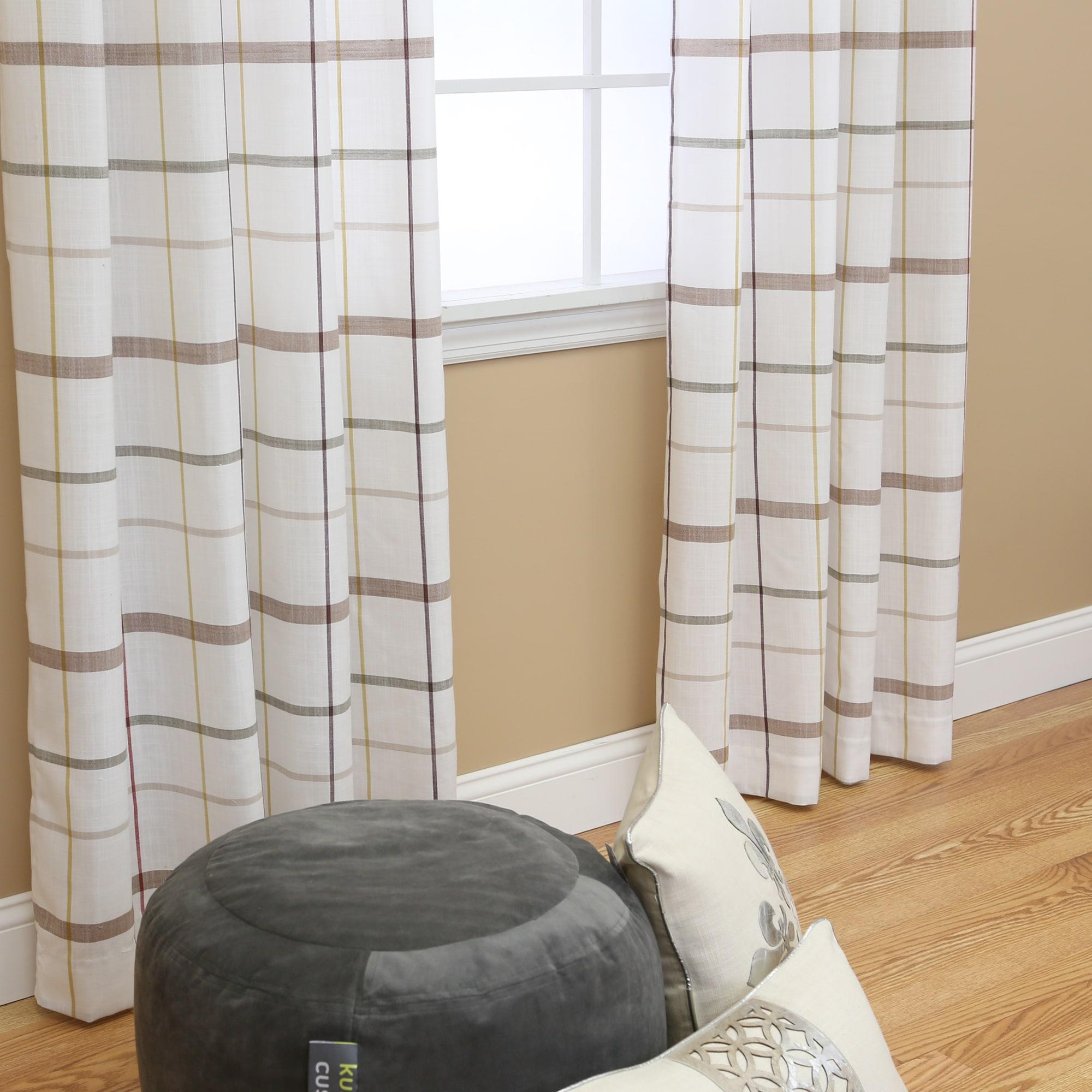 Plaid Faux Linen Grommet 84inch Curtain Pair