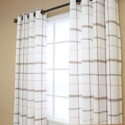 Plaid Faux Linen Grommet 84inch Curtain Pair