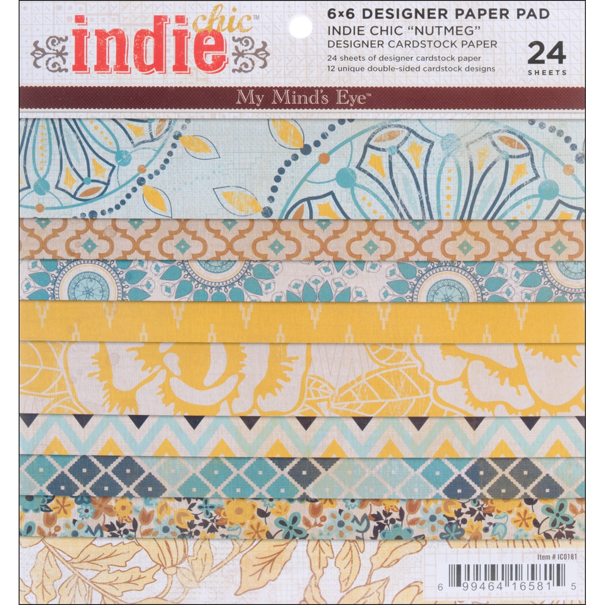Indie Chic Nutmeg Paper Pad 6 x 6 x 24 Sheets-12 Double-Sided Designs/2 Each