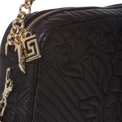 Versace 'Vanitas' Quilted Black Leather Shoulder Bag