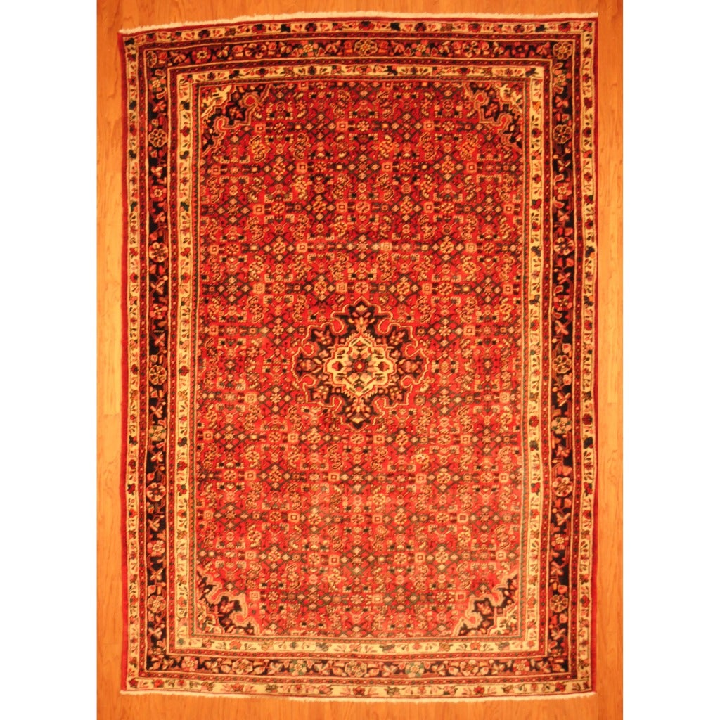 Persian Hand-knotted Tribal Hamadan Red/ Navy Wool Rug (7'6 x 10'9)