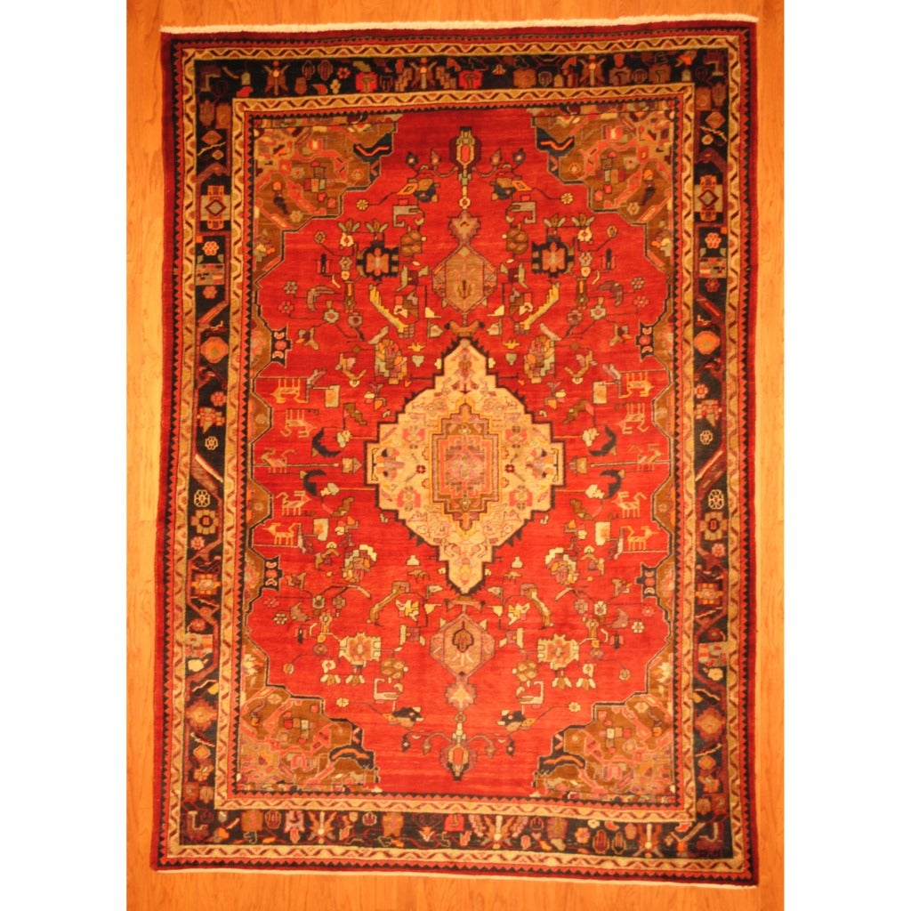 Persian Hand knotted Tribal Bakhtiari Red/ Black Wool Rug (76 x 108