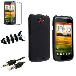 Black Case/ LCD Protector/ Wrap/ Audio Cable for HTC One S