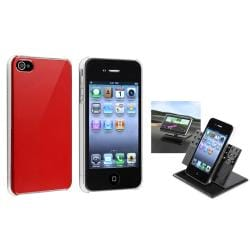 Shiny Red Case/ Swivel Phone Holder for Apple iPhone 4/ 4S