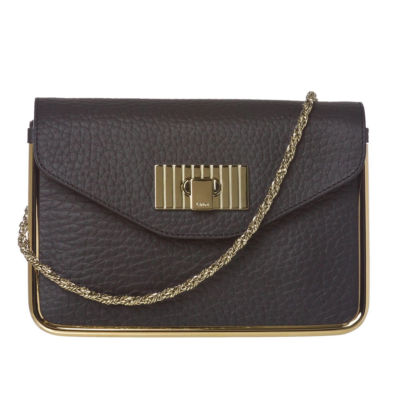 Chloe 'Sally' Black Leather Gold Framed Shoulder Bag