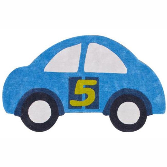 NuLOOM Handmade Kids Car Blue Rug (3' X 5')