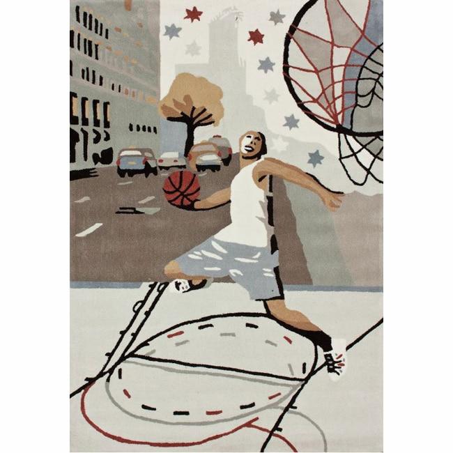nuLOOM Handmade Kids Basketball Ivory Rug (3'6 x 5'6)
