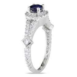 Miadora Midadora 18k White Gold 1 1/10ct TGW Sapphire and 1/2ct TDW Diamond Ring (G-H, SI1-SI2)