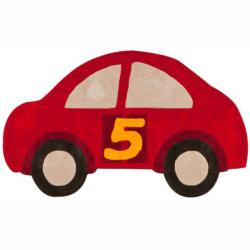 Handmade Kids Car Red Rug (3' x 5')