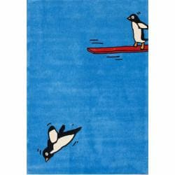 nuLOOM Handmade Kids Diving Penguin Blue Rug (5' x 7')