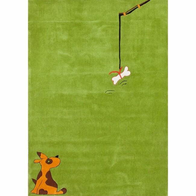 nuLOOM Handmade Kids Dog Green Rug (3'6 x 5'6)