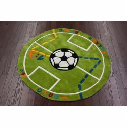 nuLOOM Handmade Kids Soccer Field Green Rug (4'3 Round)