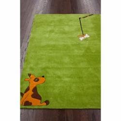 nuLOOM Handmade Kids Dog Green Rug (3'6 x 5'6)