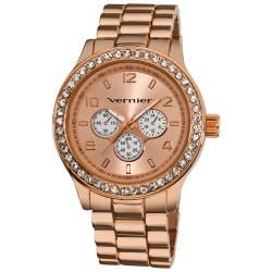 Vernier Women's V11088 Rose Gold Chrono Look Glitz Bracelet Quartz Watch