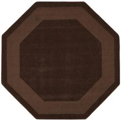 Hand-tufted Chocolate Border Wool Rug (6' x 6')