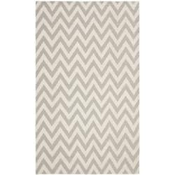 Chevron Dhurrie Grey/ Ivory Wool Rug (8' x 10')