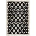 Moroccan Dhurrie Black/Ivory Transitional Wool Rug (5' x 8')
