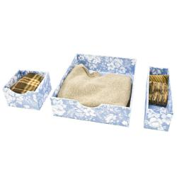 Organized Living Blue Floral Fabric Drawer Organizers