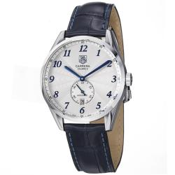 Tag Heuer Men's 'Carrera' Silver Dial Blue Leather Strap Automatic Watch