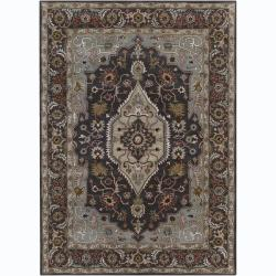 Hand-Tufted Bajrang Casual Oriental Grey Wool Rug (5' x 7')