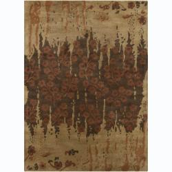 Hand-tufted Bajrang Floral Brown Wool Rug (9' x 13')