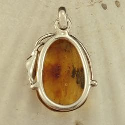 Sterling Silver Honey Baltic Amber Leaf/ Vine Pendant (Lithuania)