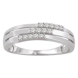 14k White Gold 1/6ct TDW White Diamond Three-row Band (H-I, I1-I2)
