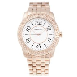 Monument Women's Rose-goldtone Crystal Bezel Oversized Watch