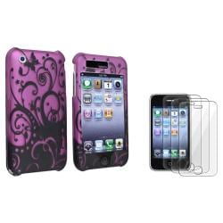 Purple/ Black Swirl Case/ LCD Protector for Apple iPhone 3G/ 3GS