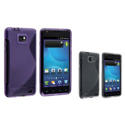 Smoke/ Purple S Shape TPU Cases for Samsung Galaxy S II AT&T i777