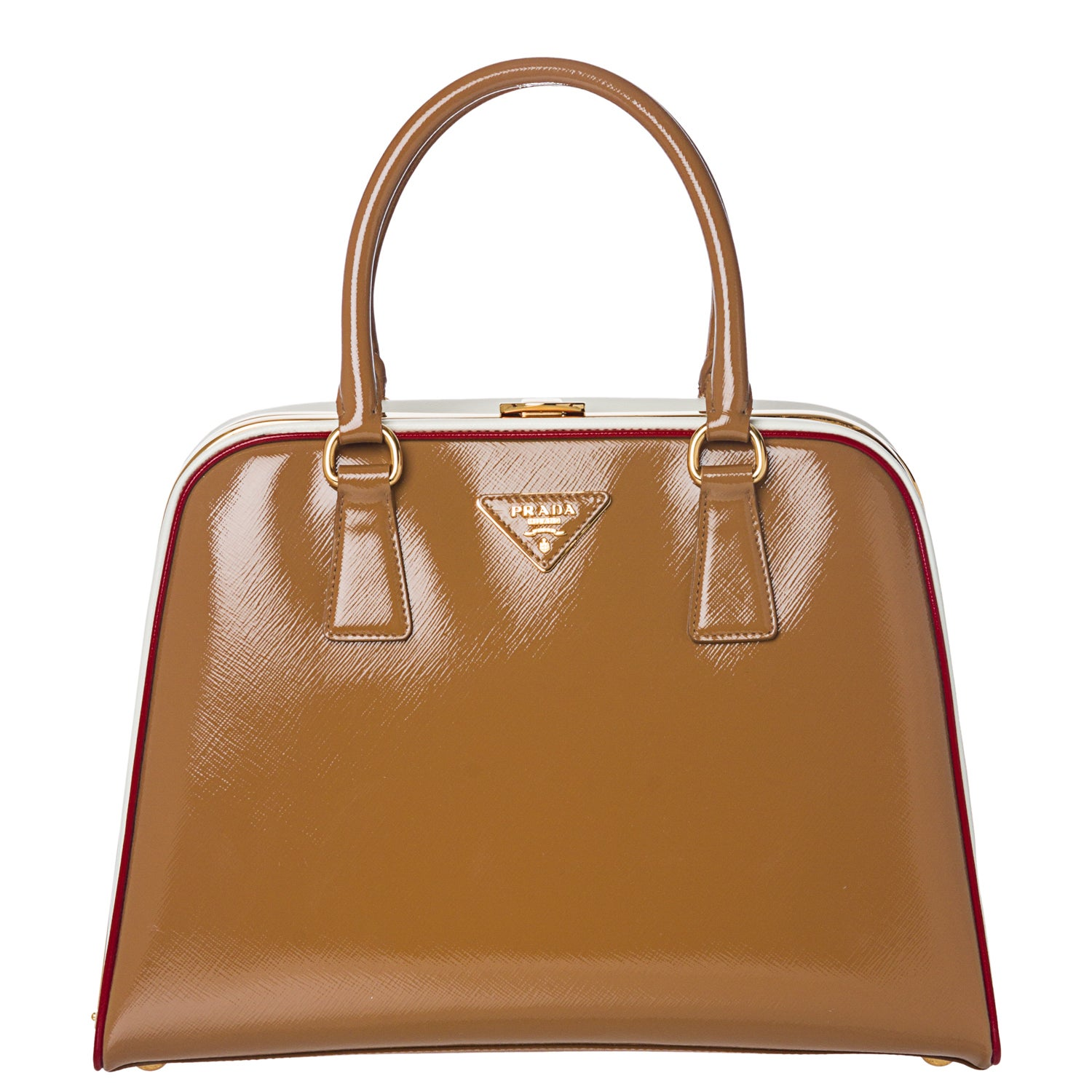 Prada Brown/ White Leather Pyramid Frame Bowler Bag - 14362510 ...