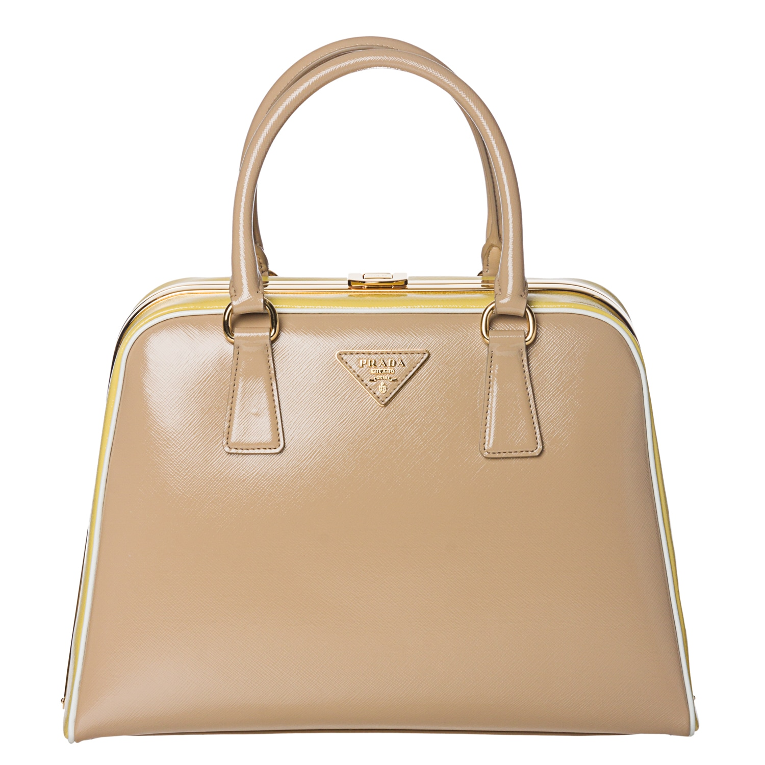 Prada Beige/ Yellow Leather Pyramid Frame Bowler Bag