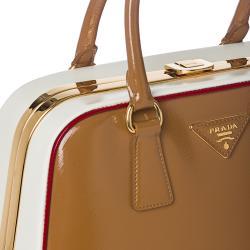 Prada Brown/ White Leather Pyramid Frame Bowler Bag - 14362510 ...