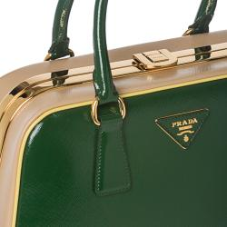 Prada Green/ Beige Leather Pyramid Frame Bowler Bag - 14362511 ... - prada frame bag caramel