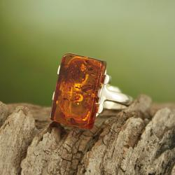 Sterling Silver Freeform Cognac Baltic Amber Ring (Lithuania)