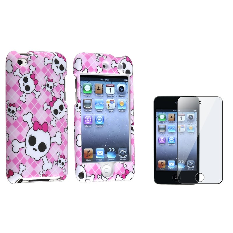 Pink/ White Skull Case/ Protector for Apple iPod Touch Generation 4