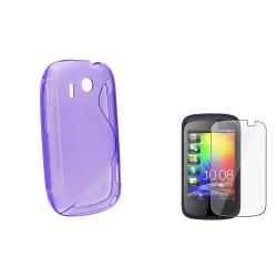 Purple S Shape TPU Rubber Skin Case/ Screen Protector for HTC Explorer