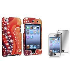Orange/White Snow Case/Mirror LCD Protector for Apple iPod Touch Generation 4