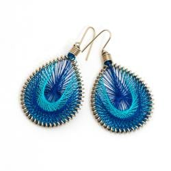 Silk Thread Earrings - Blue (India)