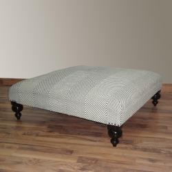 Hand-upholstered Chevron Grey Wood Bench